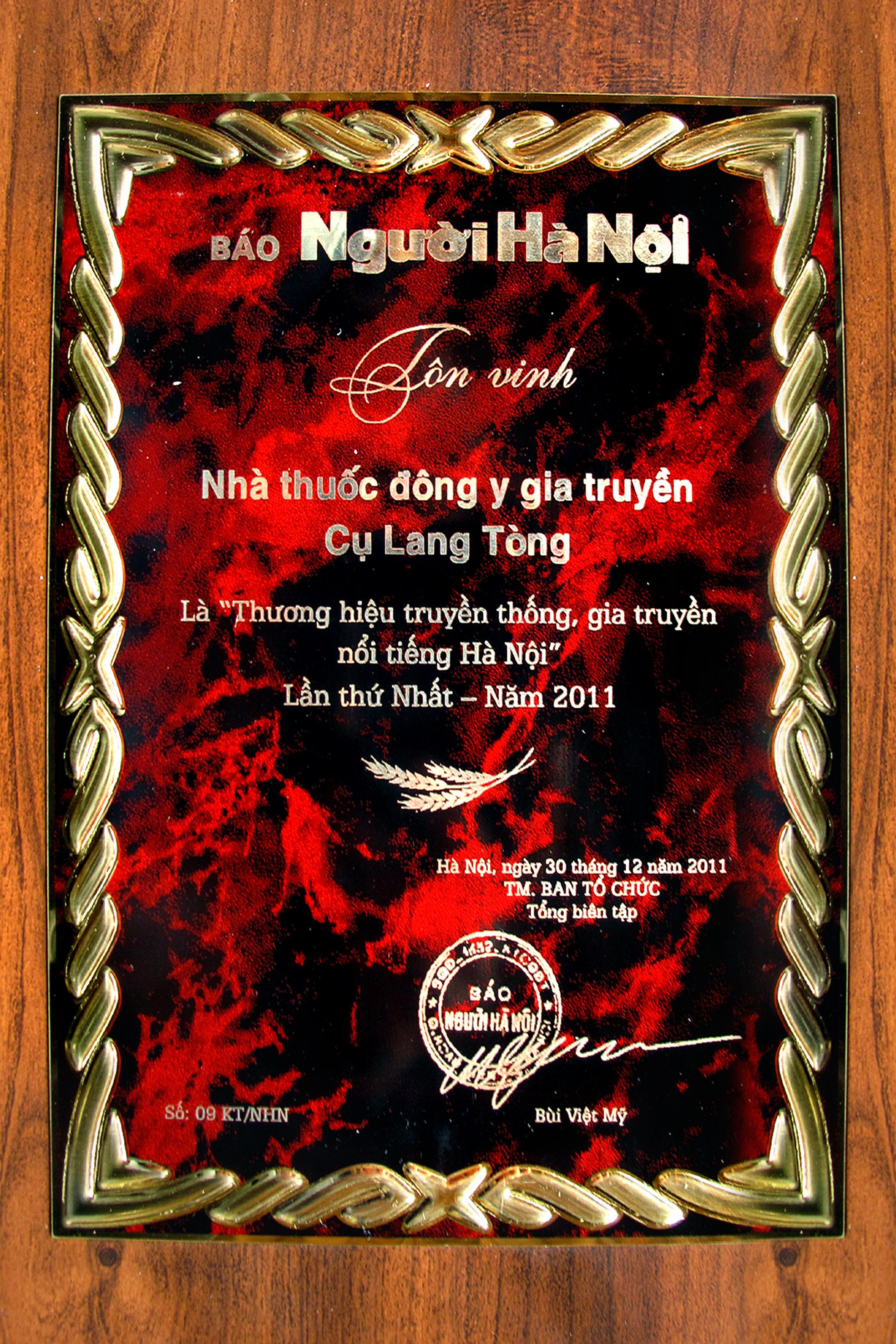 Giải nhà thuốc gia truyền Đông Y Lang Tòng